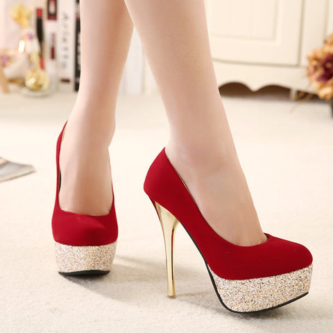 Suede Mixed Color Round Toe Sequin Platform Stiletto Heel Pumps 7.5 Red