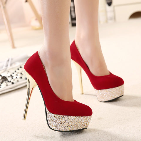 Suede Mixed Color Round Toe Sequin Platform Stiletto Heel Pumps 7 Red
