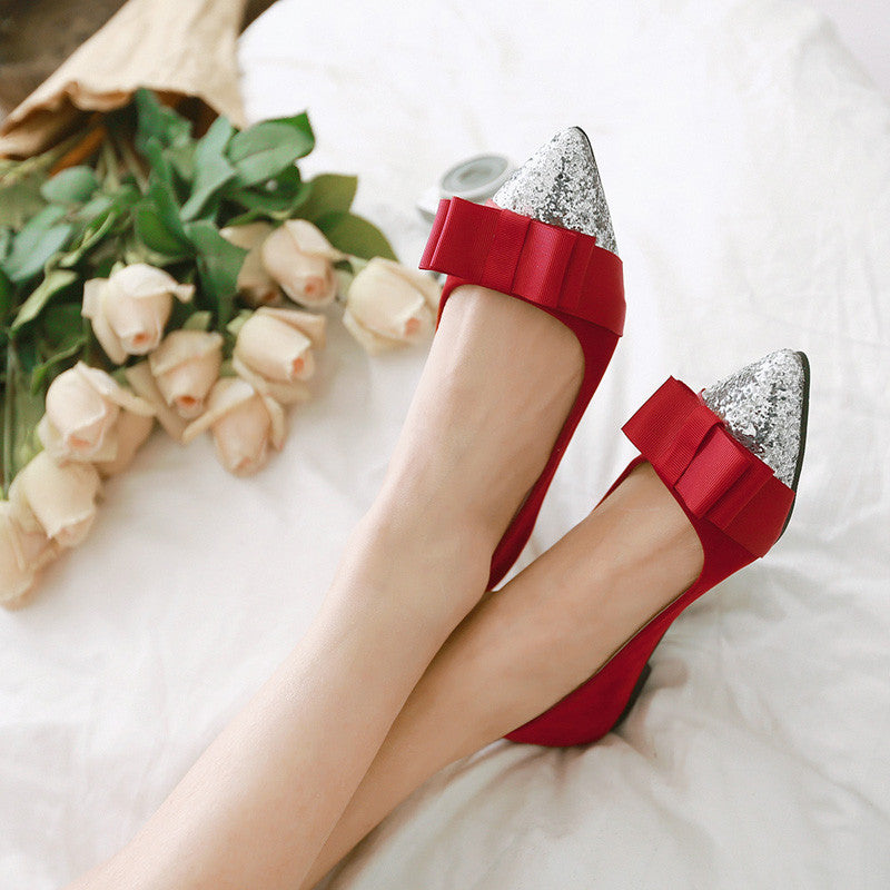 Suede Mixed Color Sequin Pointy Toe Flat Heel Bowtie Ballerina 9.5 Red