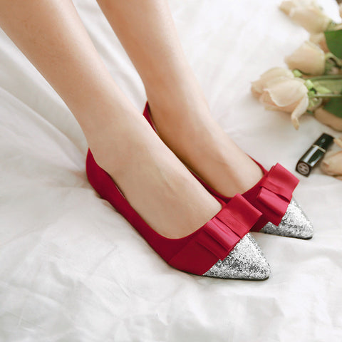 Suede Mixed Color Sequin Pointy Toe Flat Heel Bowtie Ballerina 8.5 Red