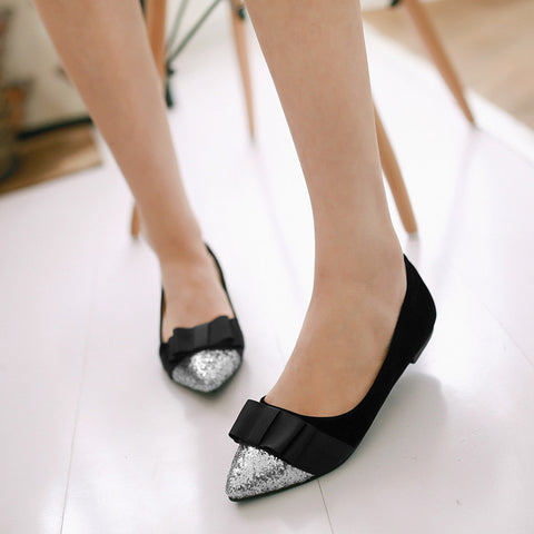 Suede Mixed Color Sequin Pointy Toe Flat Heel Bowtie Ballerina 8 Black