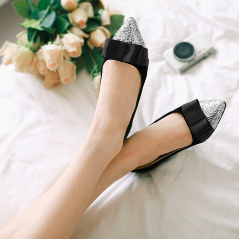 Suede Mixed Color Sequin Pointy Toe Flat Heel Bowtie Ballerina 9.5 Black