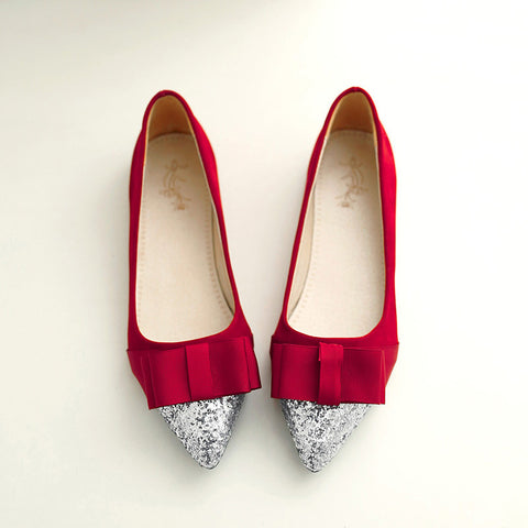 Suede Mixed Color Sequin Pointy Toe Flat Heel Bowtie Ballerina 9 Red