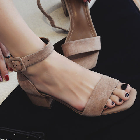 Suede Open Toe Block Heel Ankle Strap Sandals 7 Pink