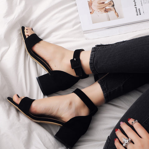 Suede Open Toe Block Heel Ankle Strap Sandals 7.5 Black