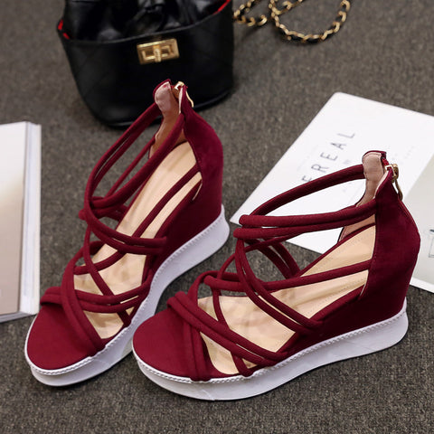 Suede Open Toe Wedge Heel Back Zipper Strappy Sandals 6.5 Red