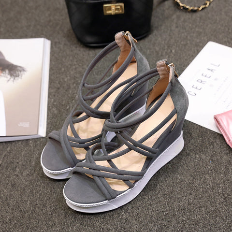 Suede Open Toe Wedge Heel Back Zipper Strappy Sandals 6.5 Grey