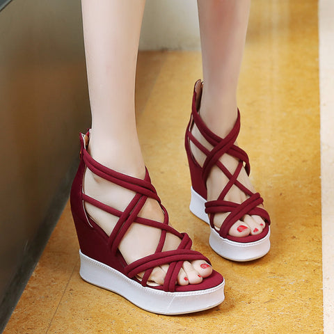 Suede Open Toe Wedge Heel Back Zipper Strappy Sandals 7 Red