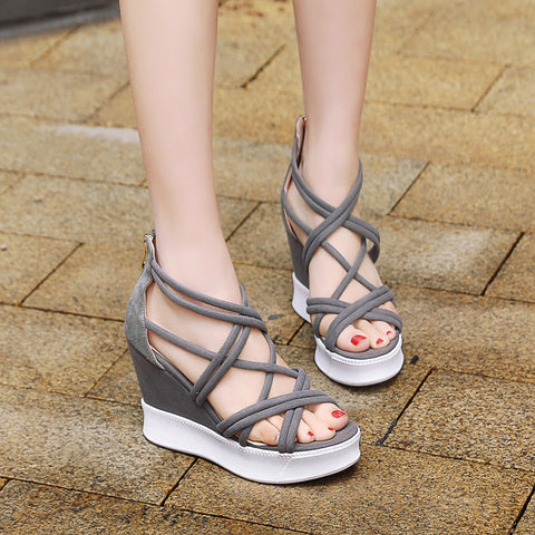 Suede Open Toe Wedge Heel Back Zipper Strappy Sandals 7 Grey