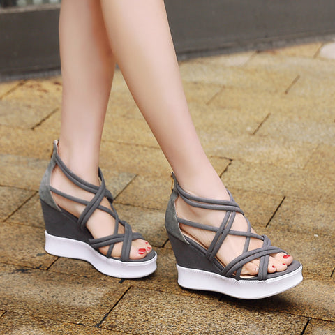 Suede Open Toe Wedge Heel Back Zipper Strappy Sandals 7.5 Grey