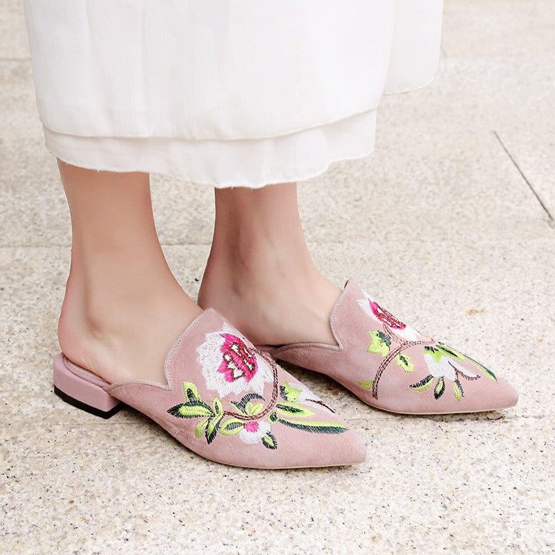 Suede Pointy Toe Low Block Heel Embroidery Mules 8.5 Pink