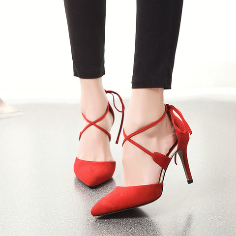 Suede Pointy Toe Stiletto Heel Cross Strap Lace Up Sandals 7.5 Red