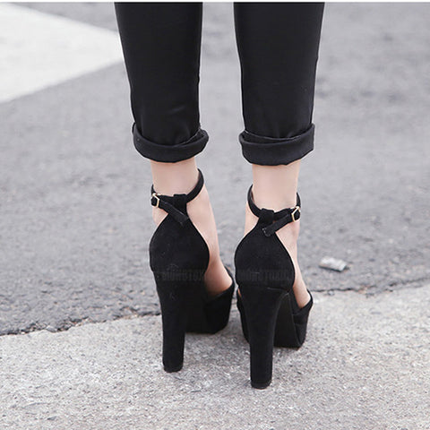 Suede Pointy Toe Stiletto Heel Platform Ankle Strap Sandals 8 Black