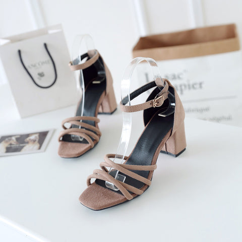 Suede Pure Color Cross Belt Open Toe High Block Heel Ankle Strap Sandals 9.5 Camel