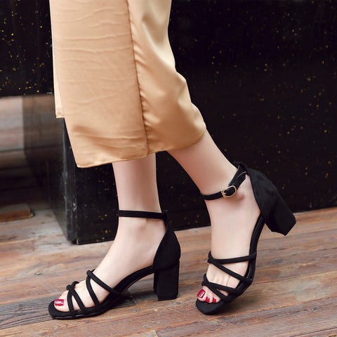 Suede Pure Color Cross Belt Open Toe High Block Heel Ankle Strap Sandals 8.5 Black