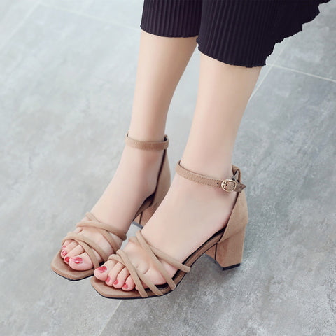 Suede Pure Color Cross Belt Open Toe High Block Heel Ankle Strap Sandals 8.5 Camel