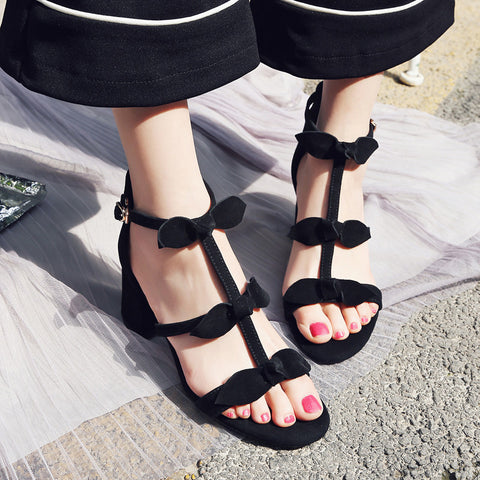 Suede Pure Color Open Toe High Block Heel T-strap Buckle Bowtie Sandals 7 Black