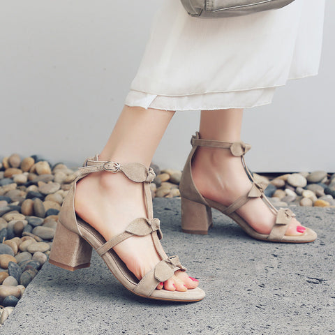 Suede Pure Color Open Toe High Block Heel T-strap Buckle Bowtie Sandals 7 Camel