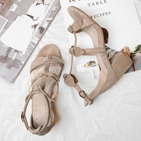 Suede Pure Color Open Toe High Block Heel T-strap Buckle Bowtie Sandals 8 Camel