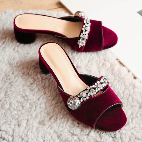 Suede Pure Color Open Toe Middle Block Heel Metal Crystal Embellished Slippers 9.5 Dark red