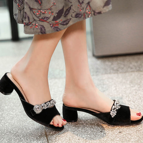 Suede Pure Color Open Toe Middle Block Heel Metal Crystal Embellished Slippers 9 Black