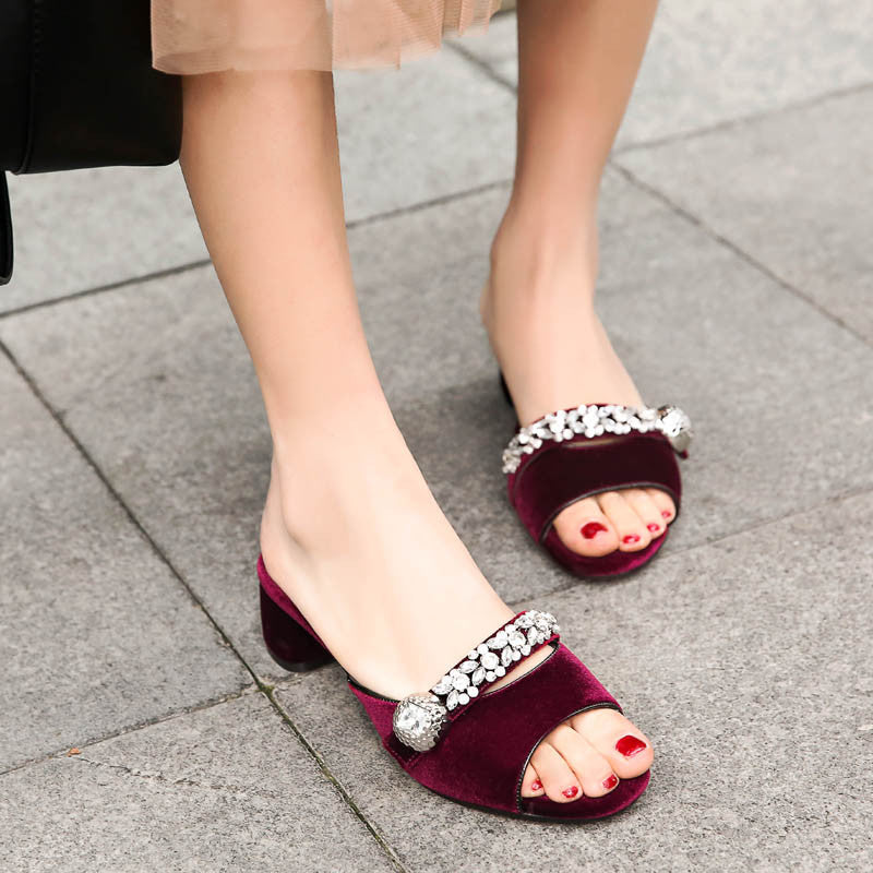 Suede Pure Color Open Toe Middle Block Heel Metal Crystal Embellished Slippers 8.5 Dark red