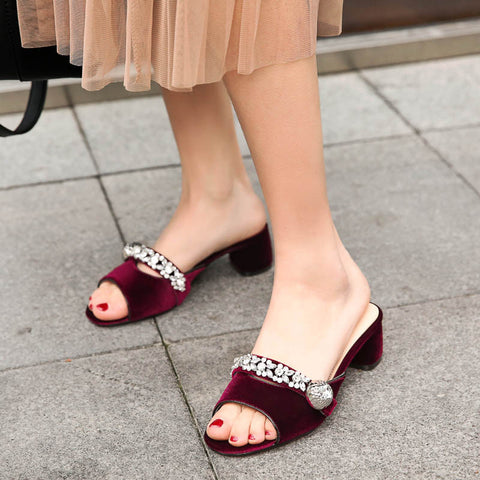 Suede Pure Color Open Toe Middle Block Heel Metal Crystal Embellished Slippers 9 Dark red