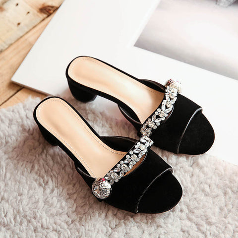 Suede Pure Color Open Toe Middle Block Heel Metal Crystal Embellished Slippers 9.5 Black