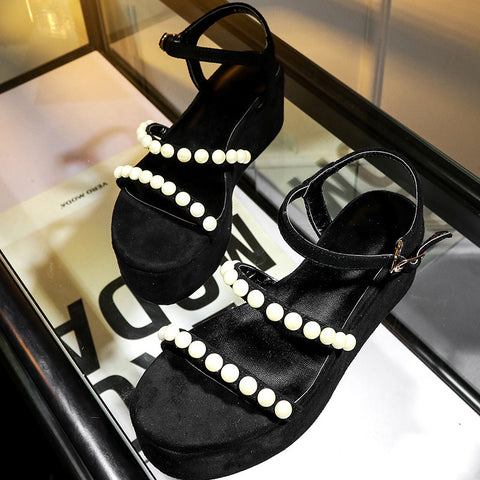 Suede Pure Color Open Toe Platform Heel Metal Buckle Belt Pearls Sandals 6.5 Black