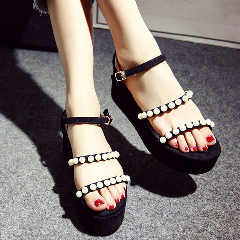 Suede Pure Color Open Toe Platform Heel Metal Buckle Belt Pearls Sandals 7 Black