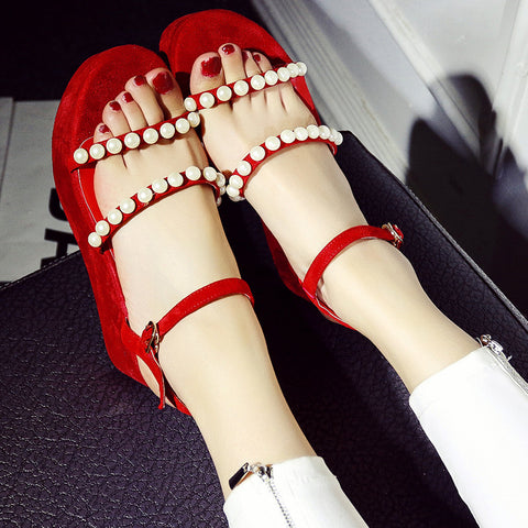 Suede Pure Color Open Toe Platform Heel Metal Buckle Belt Pearls Sandals 7.5 Red