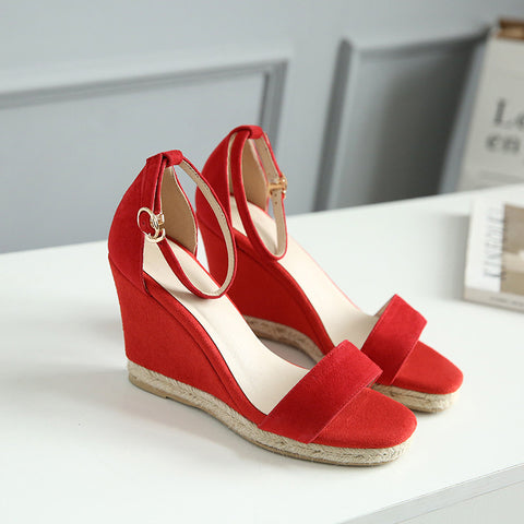 Suede Pure Color Open Toe Wedge Heel Ankle Strap Sandals 6.5 Red