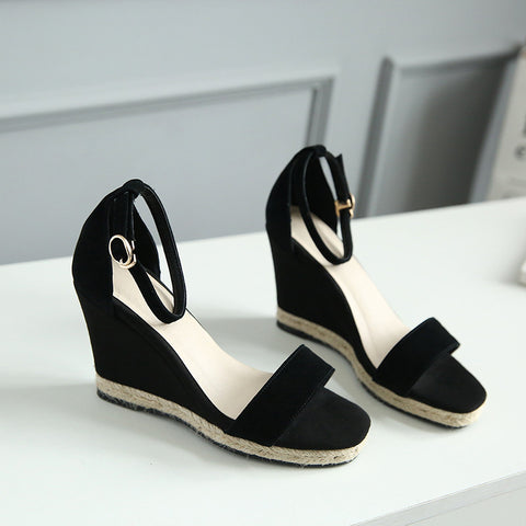 Suede Pure Color Open Toe Wedge Heel Ankle Strap Sandals 6.5 Black