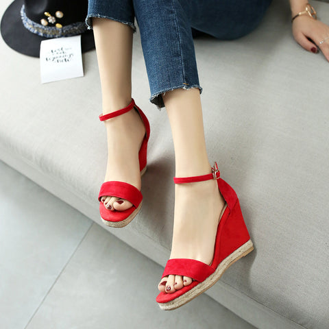 Suede Pure Color Open Toe Wedge Heel Ankle Strap Sandals 7.5 Red