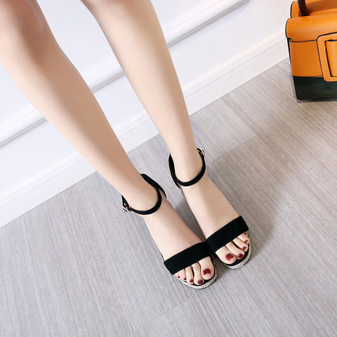 Suede Pure Color Open Toe Wedge Heel Ankle Strap Sandals 7.5 Black