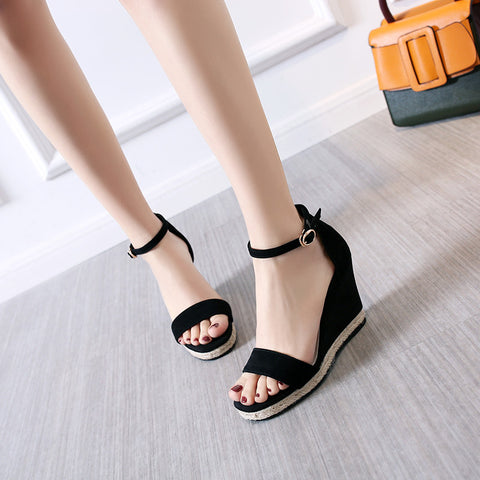 Suede Pure Color Open Toe Wedge Heel Ankle Strap Sandals 7 Black