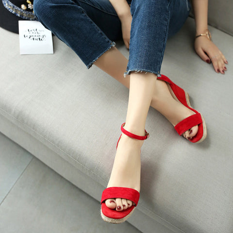 Suede Pure Color Open Toe Wedge Heel Ankle Strap Sandals 7 Red