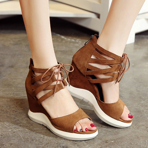 Suede Pure Color Open Toe Wedge Heel Lace Up Embellished Back Zipper Gladiator Sandals 7.5 Bronze