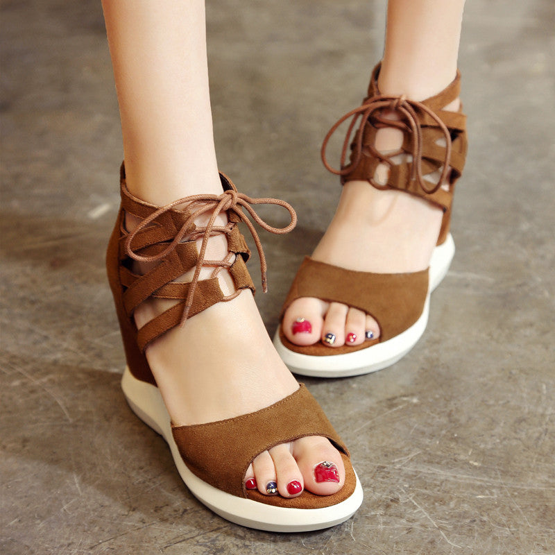 Suede Pure Color Open Toe Wedge Heel Lace Up Embellished Back Zipper Gladiator Sandals 7 Bronze