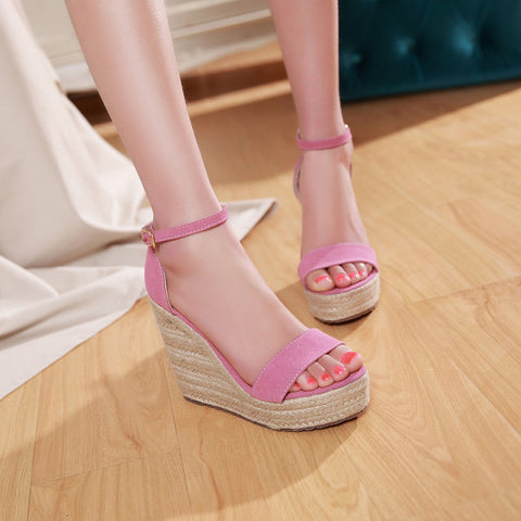 Suede Pure Color Open Toe Woven Embellished Wedge Heel Metal Buckle Belt Sandals 7 Pink