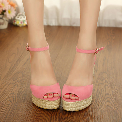 Suede Pure Color Peep Toe Woven Wedge Heel Ankle Strap Sandals 7.5 Pink