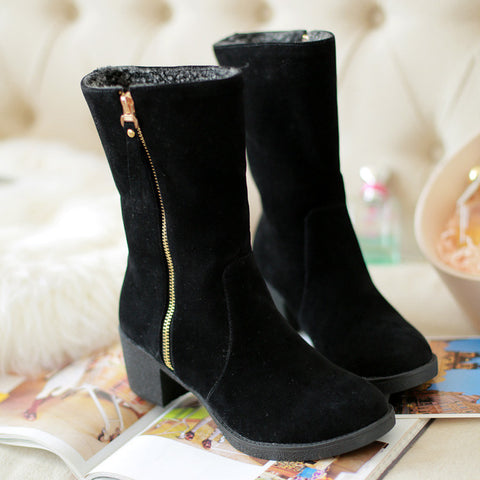 Suede Pure Color Pointed Toe High Block Heel Side Zipper Short Boots 42 Black