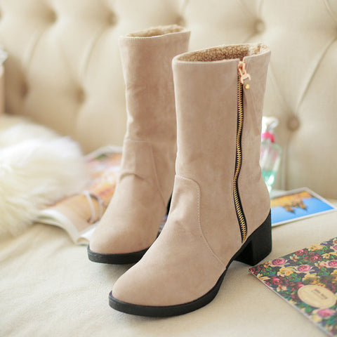 Suede Pure Color Pointed Toe High Block Heel Side Zipper Short Boots 43 Beige
