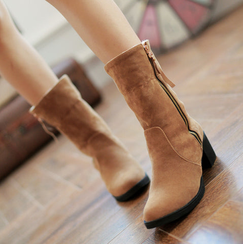 Suede Pure Color Pointed Toe High Block Heel Side Zipper Short Boots 43 Brown
