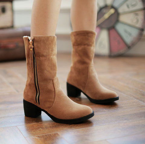 Suede Pure Color Pointed Toe High Block Heel Side Zipper Short Boots 42 Brown