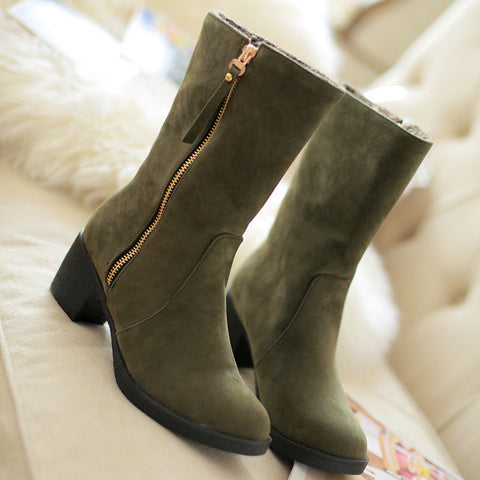 Suede Pure Color Pointed Toe High Block Heel Side Zipper Short Boots 42 Green