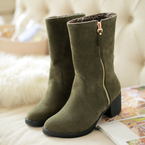 Suede Pure Color Pointed Toe High Block Heel Side Zipper Short Boots 43 Green