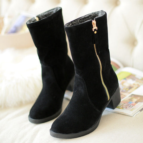 Suede Pure Color Pointed Toe High Block Heel Side Zipper Short Boots 43 Black