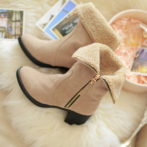Suede Pure Color Pointed Toe High Block Heel Side Zipper Short Boots 42 Beige