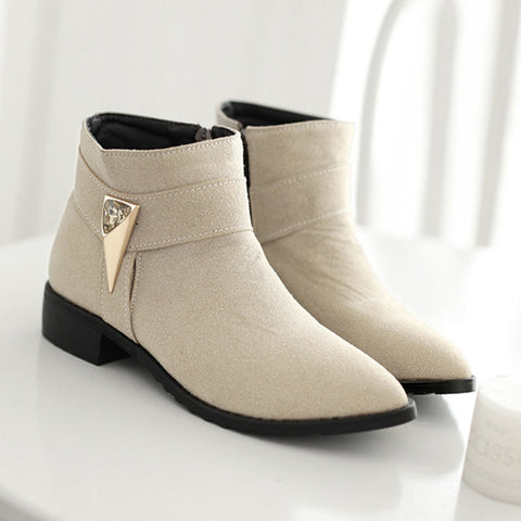 Suede Pure Color Pointed Toe Low Block Heel Side Zipper Ankle Boots 42 Beige